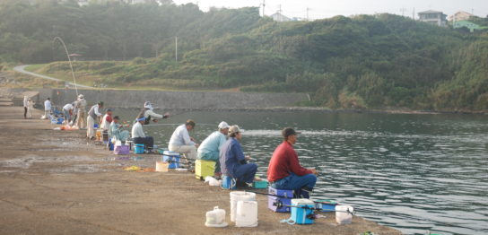 漁港で釣りをする人々