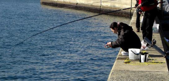 堤防でアジ釣り